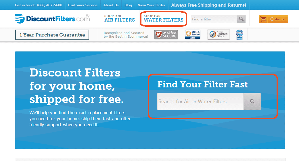 DiscountFilters Homepage