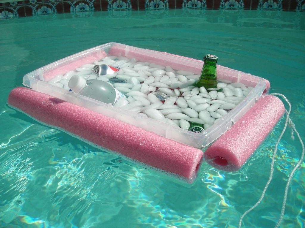 floating cooler in the pool