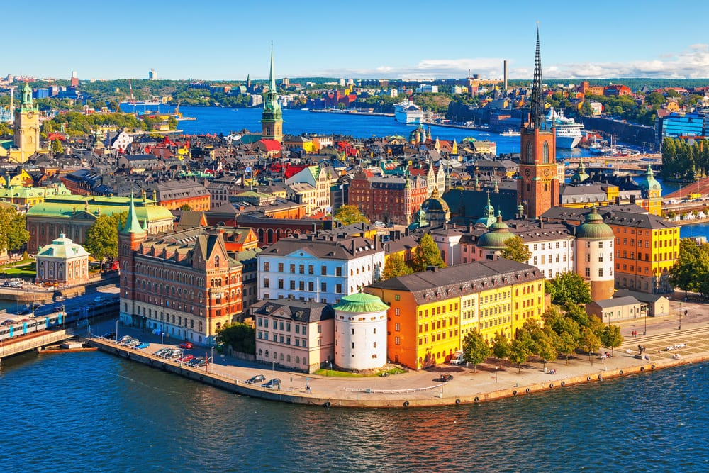 Scenic summer aerial panorama in Stockholm, Sweden