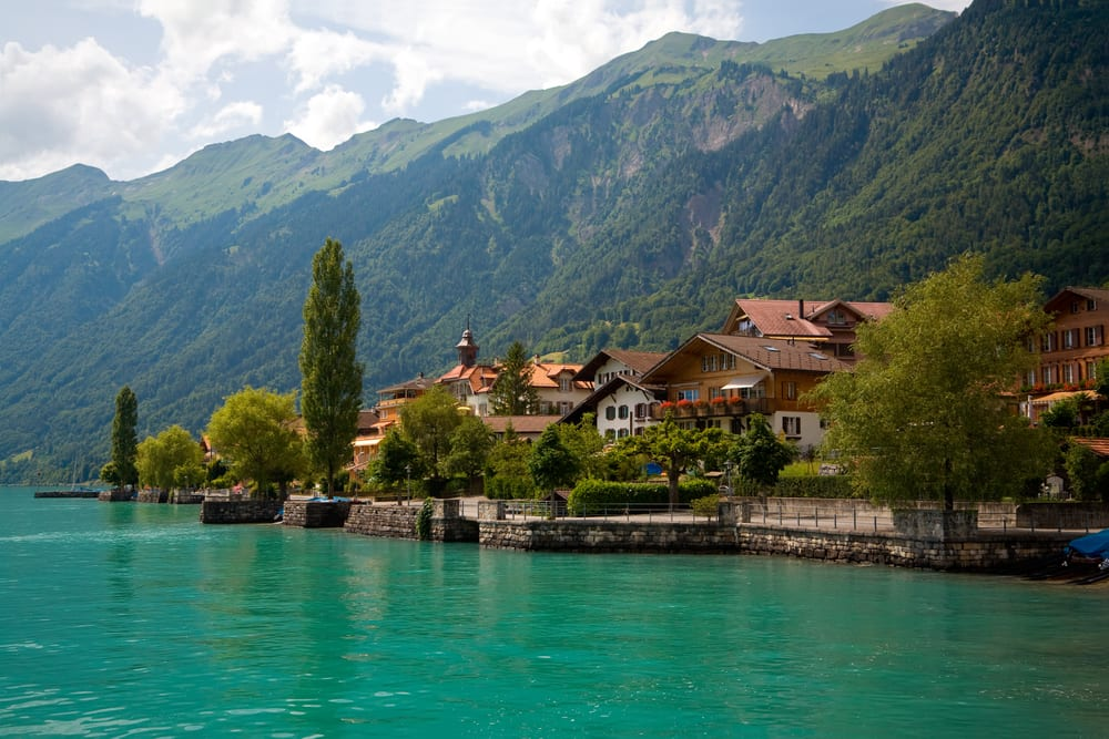 view of lake and Municipality of Brienz in Switzerland.