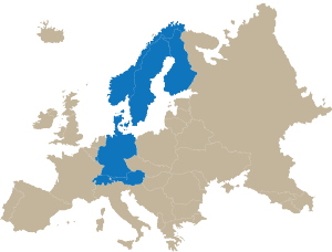 vector map of Europe and best countries in terms of drinking water
