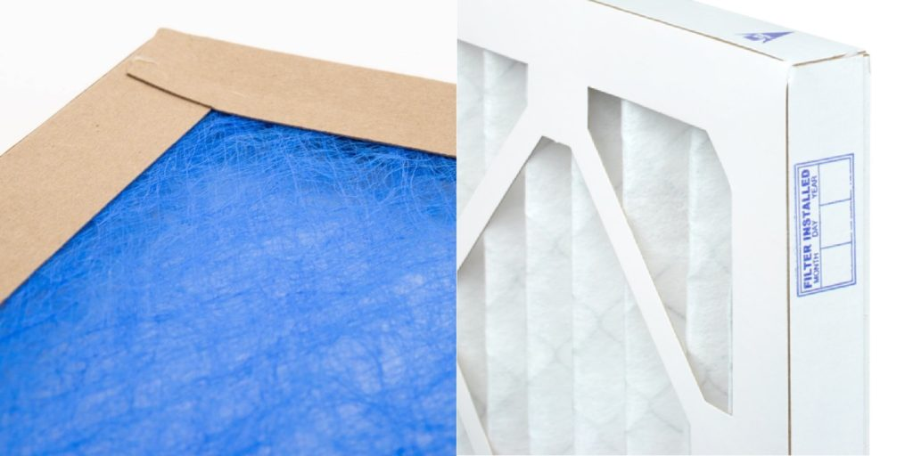 Fiberglass (left) and pleated (right) are the two main types of air filters.