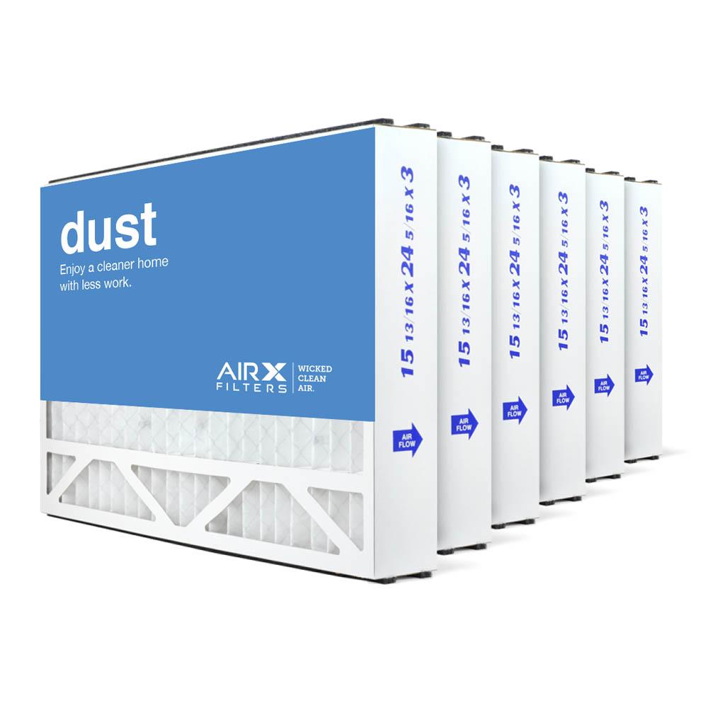 16x25x3 AIRx DUST Air Bear 255649-101 Replacement Air Filter - MERV 8, 6-Pack