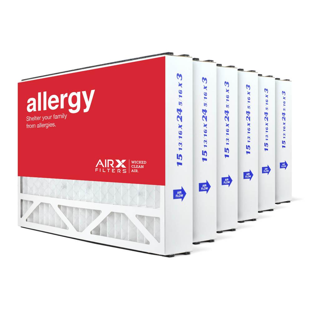 16x25x3 AIRx ALLERGY Air Bear 255649-101 Replacement Air Filter - MERV 11, 6-Pack