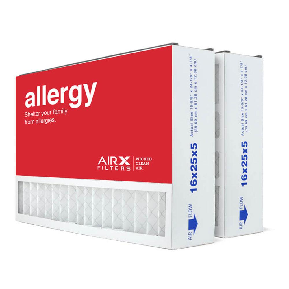 16x25x5 AIRx ALLERGY Air Bear 255649-105 Replacement Air Filter - MERV 11, 6-Pack