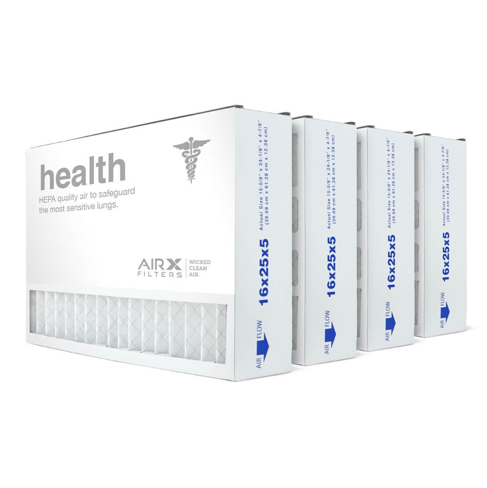 16x25x5 AIRx HEALTH Air Bear 255649-105 Replacement Air Filter - MERV 13, 4-Pack