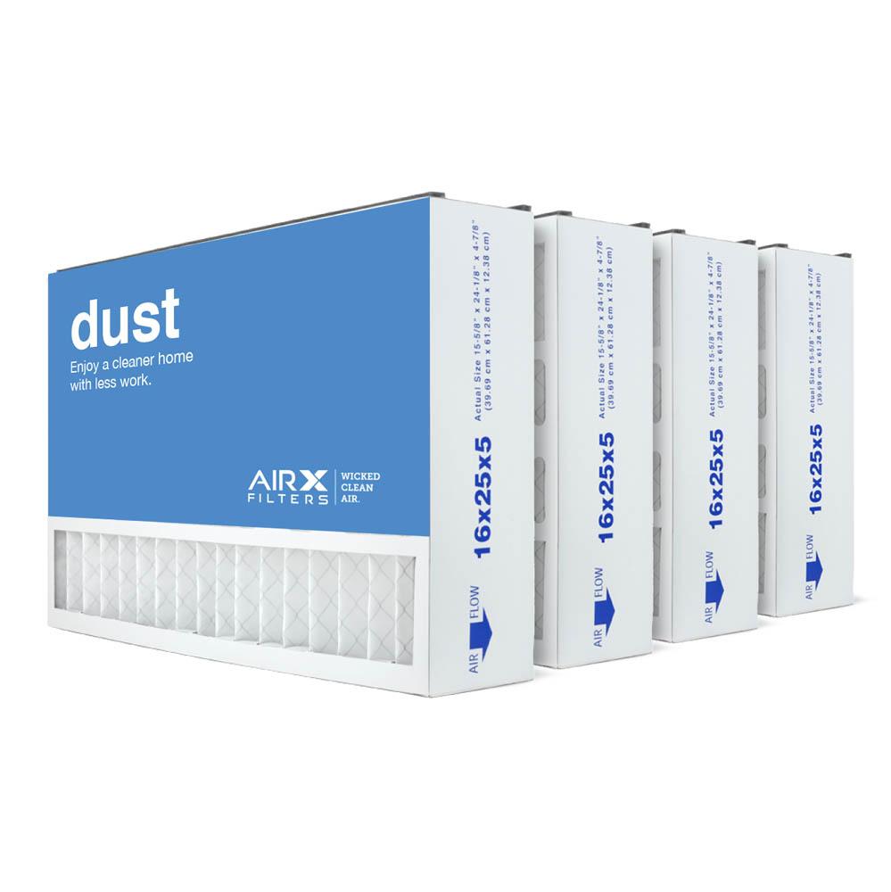 16x25x5 AIRx DUST Air Bear 255649-105 Replacement Air Filter - MERV 8, 4-Pack