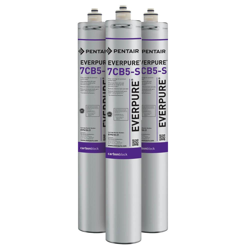 Everpure 7CB5-S Carbon Block Water Filtration Cartridge, 3-pk