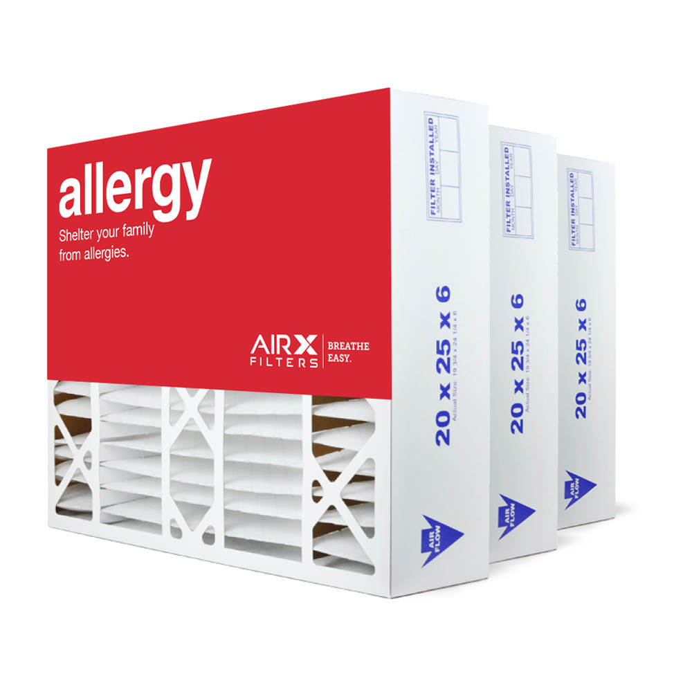 20x25x6 AIRx ALLERGY Aprilaire 201 Replacement Air Filter - MERV 11, 6 pack