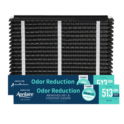 Aprilaire #513CBN MERV 13 Odor Reduction Replacement Filter, 2-Pack