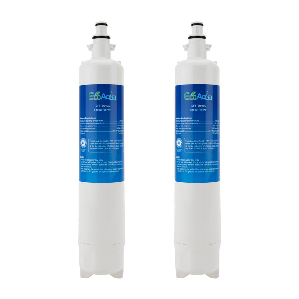 EcoAqua Replacement for GE RPWF Fridge Filter, 3-Pack