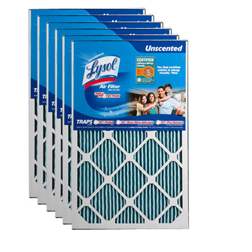 Lysol Brand 16 x 24 x 1 Allergenic Triple Protection Air Filter (6-Pack)