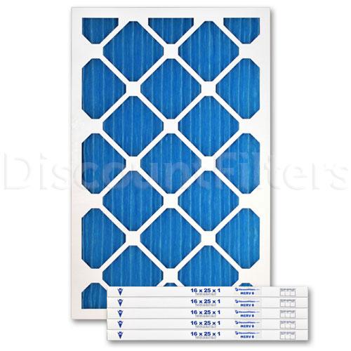 """16"""" X 25"""" X 1"""" MERV 8 Blue Pleated Filter"""