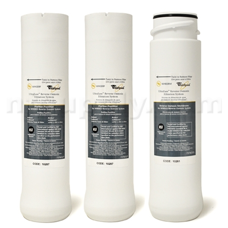 WHIRLPOOL WHER25  and KENMORE UltraFilter 450 / 650 R.O. Pre & Post Filters w/ Membrane SET