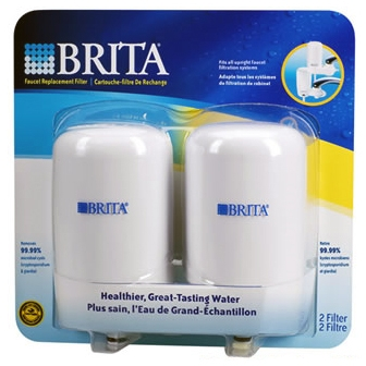 Replacement Filter for Brita On-Tap Basic Faucet System - 2 Pack White